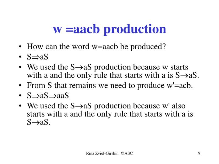 w =aacb production