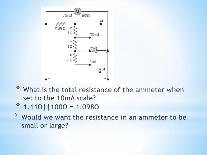 What is the total resistance of the ammeter when set to the 10mA scale?