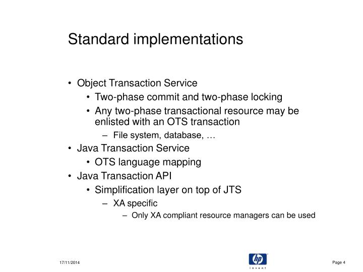 Standard implementations