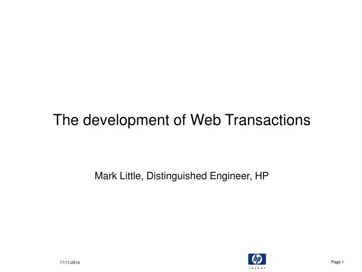 The development of web transactions