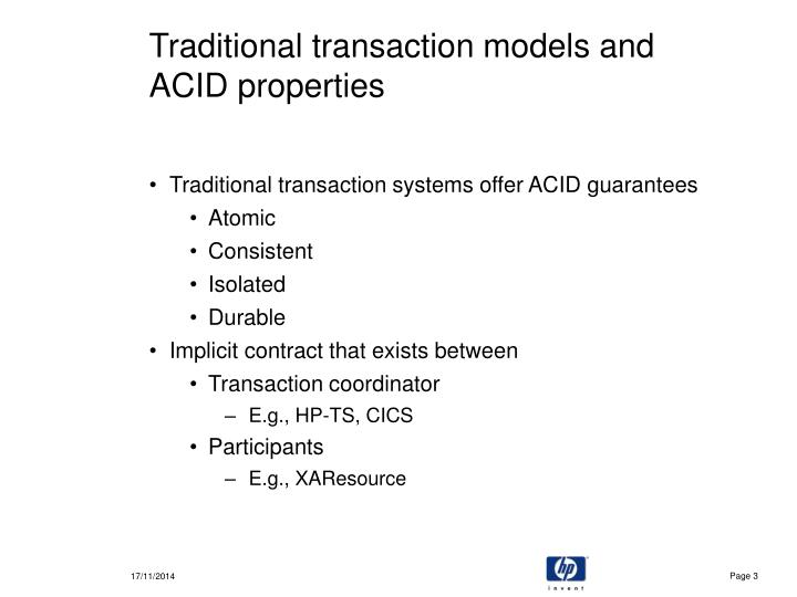 Traditional transaction models and acid properties