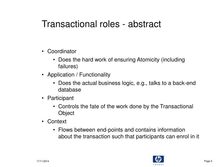 Transactional roles - abstract