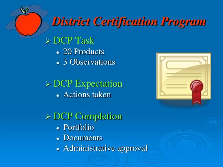 District Certification Program