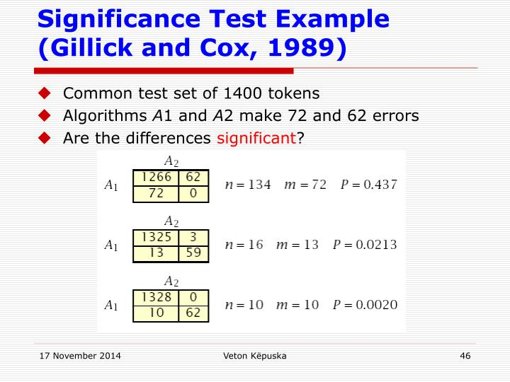 Significance Test Example (Gillick and Cox, 1989)