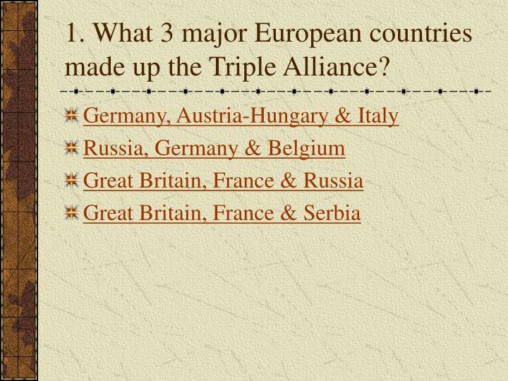 1. What 3 major European countries made up the Triple Alliance?