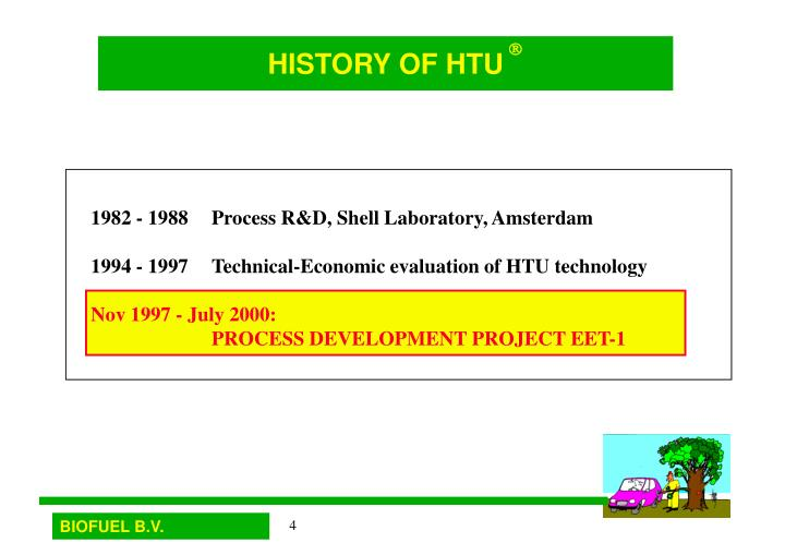HISTORY OF HTU