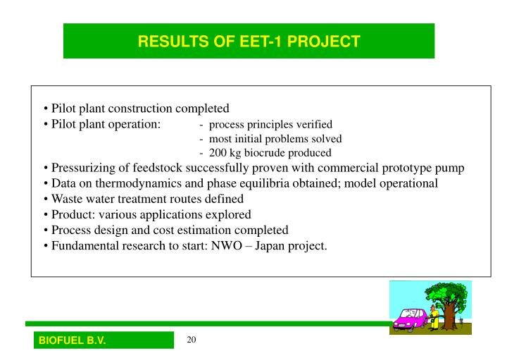 RESULTS OF EET-1 PROJECT