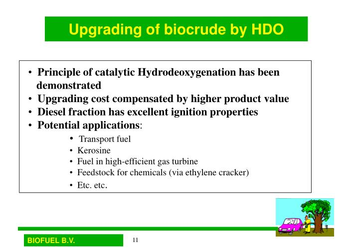 Upgrading of biocrude by HDO