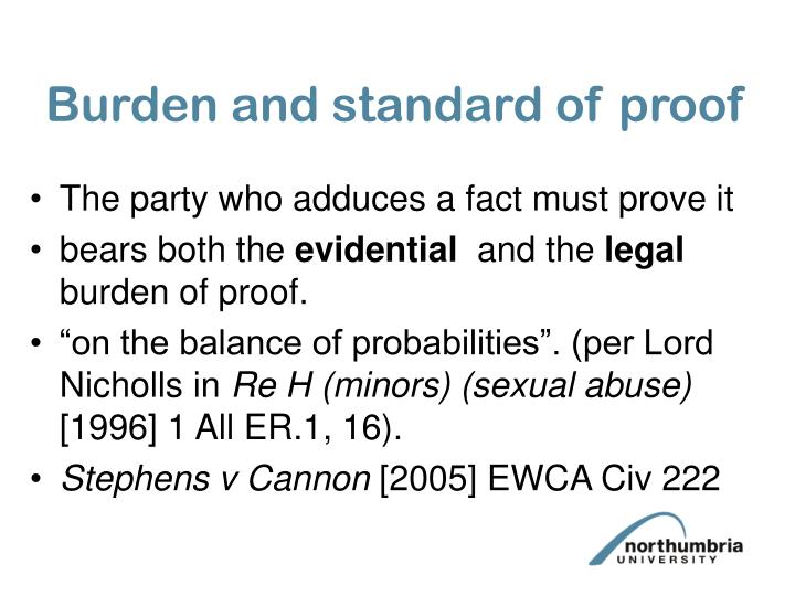 Burden and standard of proof