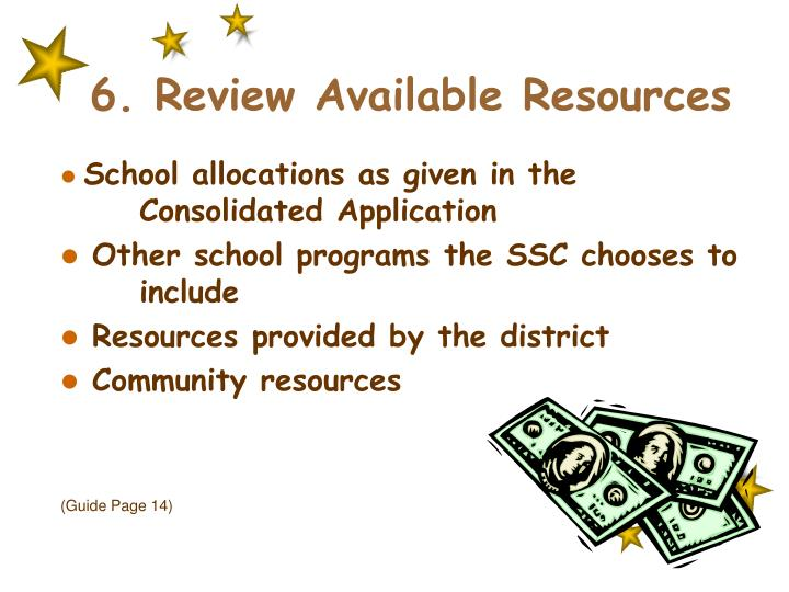 6. Review Available Resources