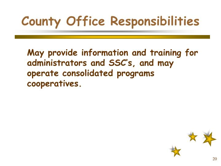 County Office Responsibilities