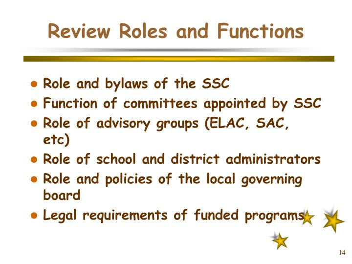 Review Roles and Functions