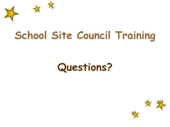 School Site Council Training