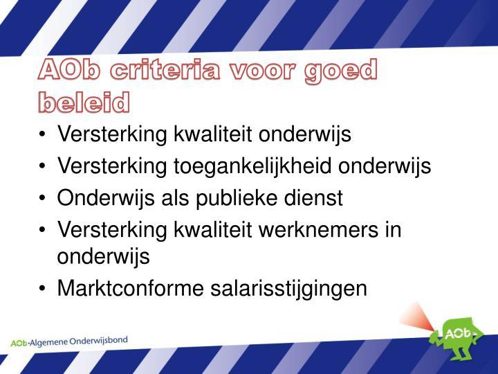 AOb criteria voor goed beleid