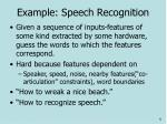 example speech recognition