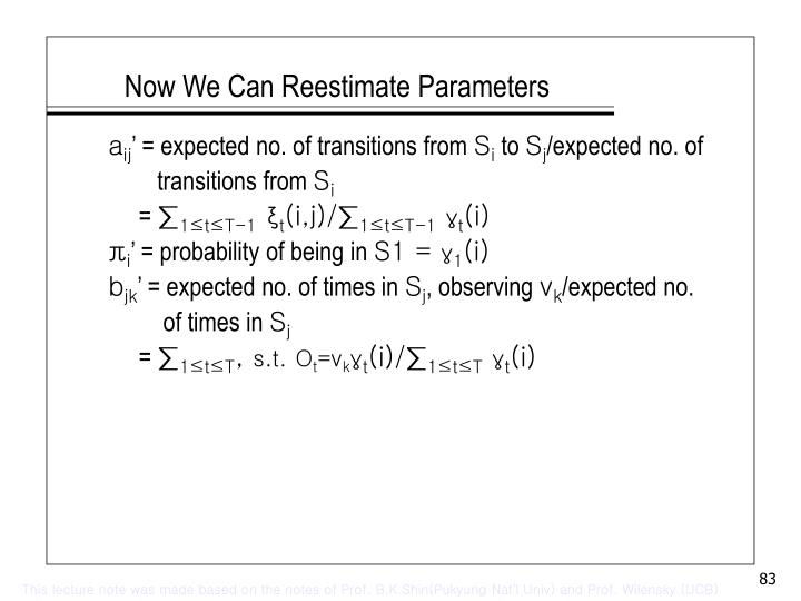 Now We Can Reestimate Parameters