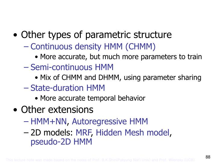 Other types of parametric structure