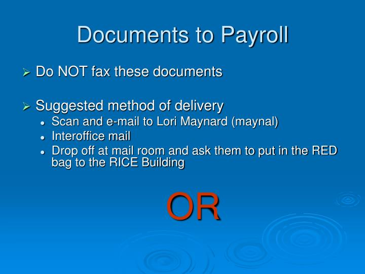 Documents to Payroll