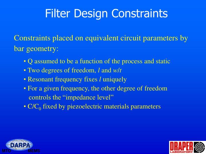 Filter Design Constraints