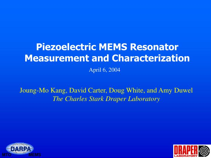 piezoelectric mems resonator measurement and characterization