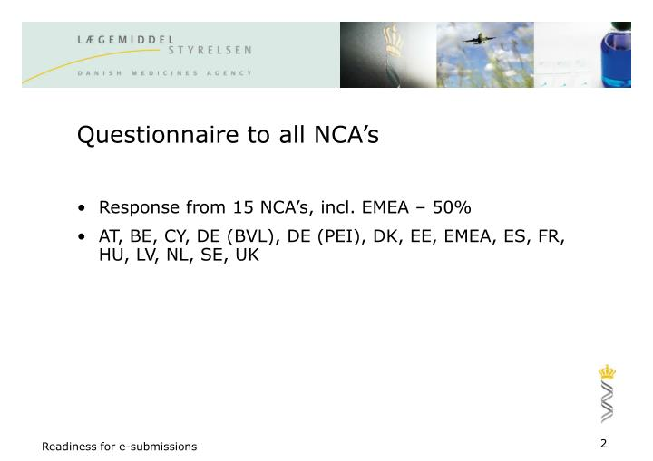 Questionnaire to all NCA's