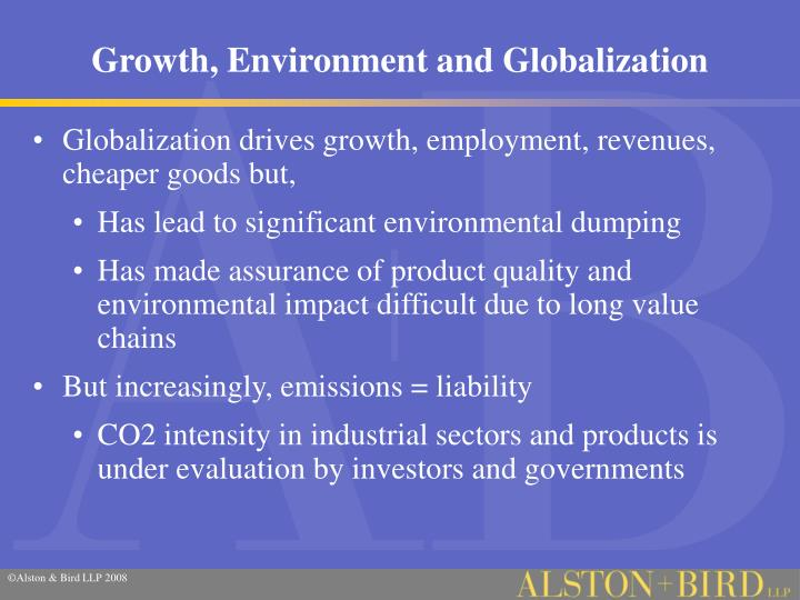 Growth, Environment and Globalization