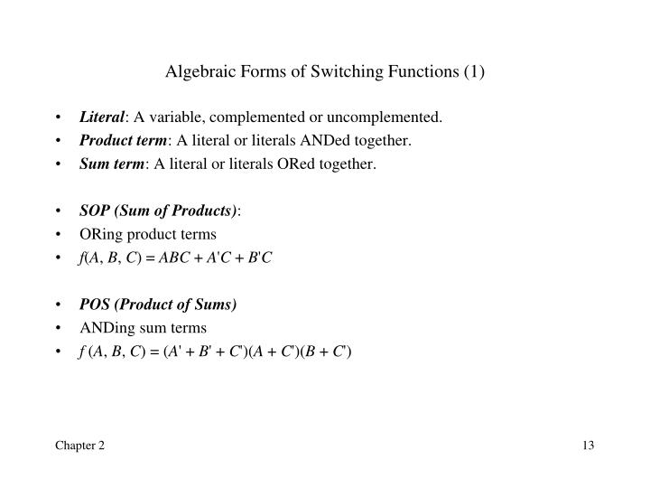 Algebraic Forms of Switching Functions (1)