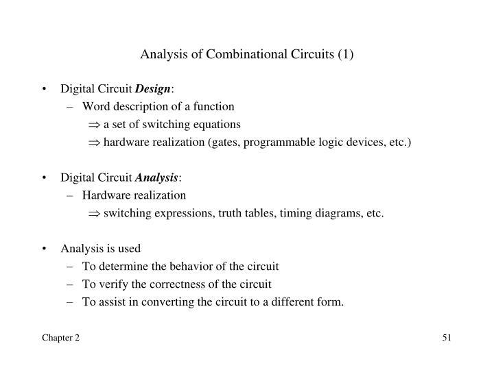 Analysis of Combinational Circuits (1)