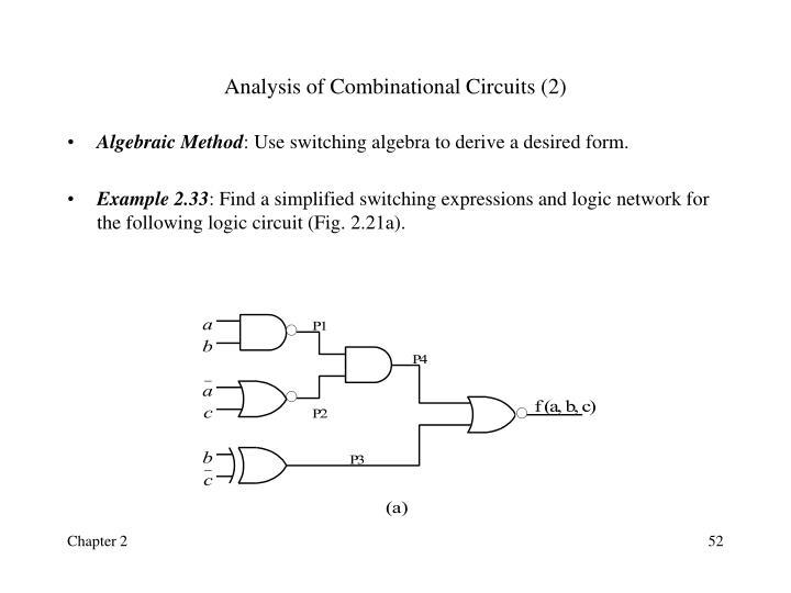 Analysis of Combinational Circuits (2)