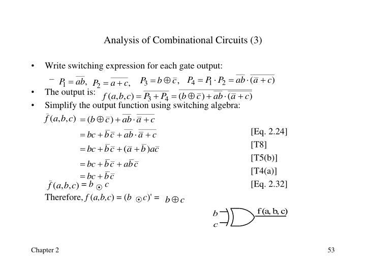 Analysis of Combinational Circuits (3)