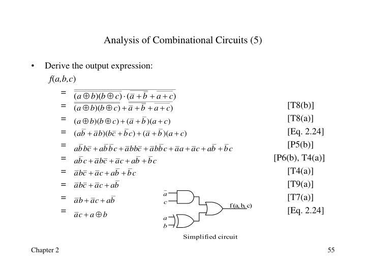 Analysis of Combinational Circuits (5)