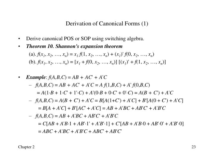 Derivation of Canonical Forms (1)
