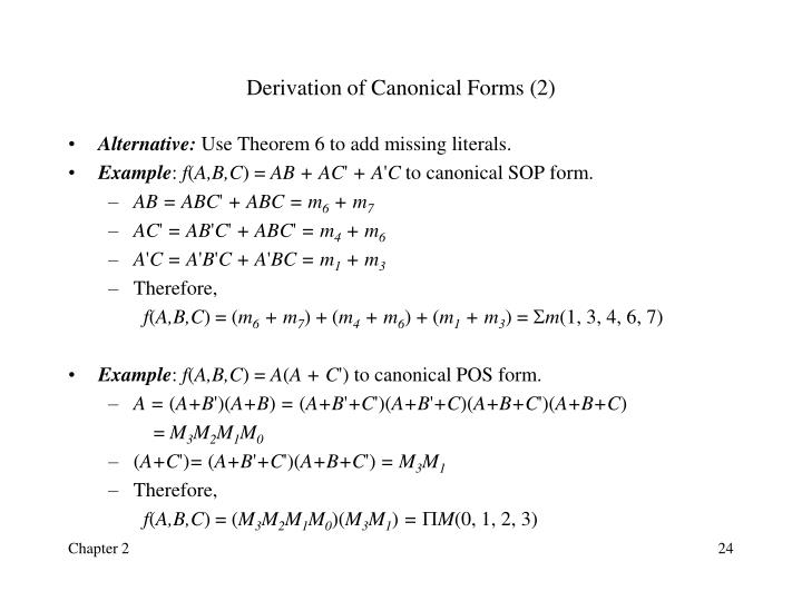 Derivation of Canonical Forms (2)