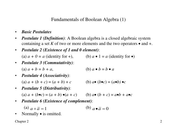Fundamentals of Boolean Algebra (1)