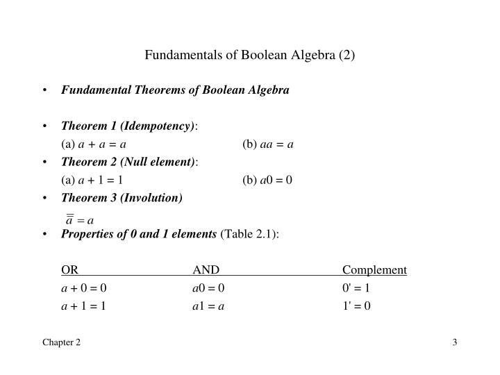 Fundamentals of Boolean Algebra (2)