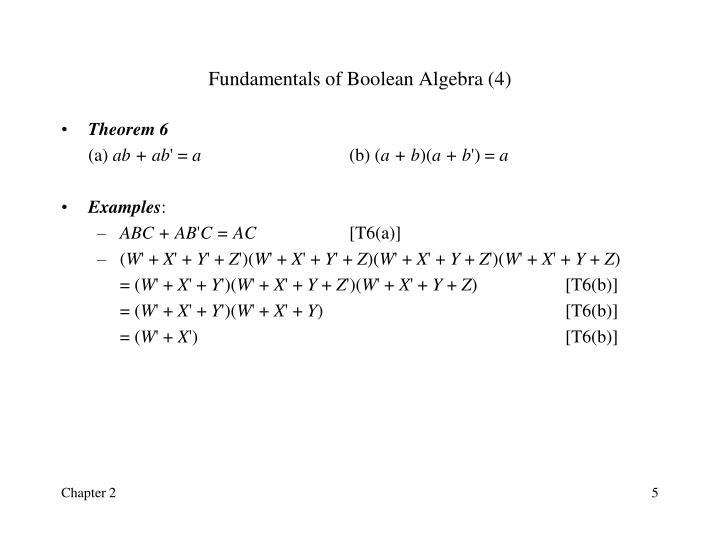 Fundamentals of Boolean Algebra (4)