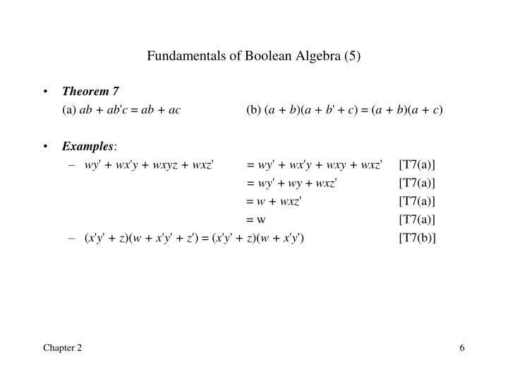 Fundamentals of Boolean Algebra (5)