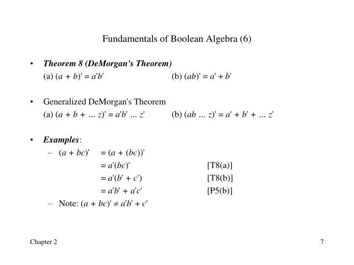 Fundamentals of Boolean Algebra (6)