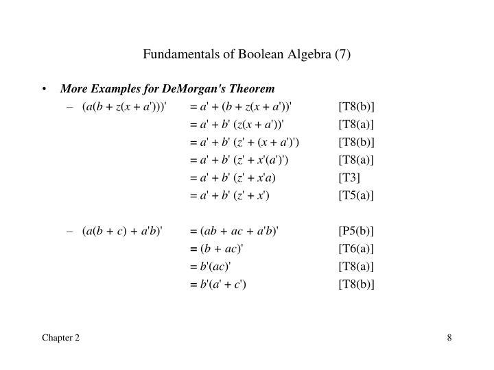 Fundamentals of Boolean Algebra (7)