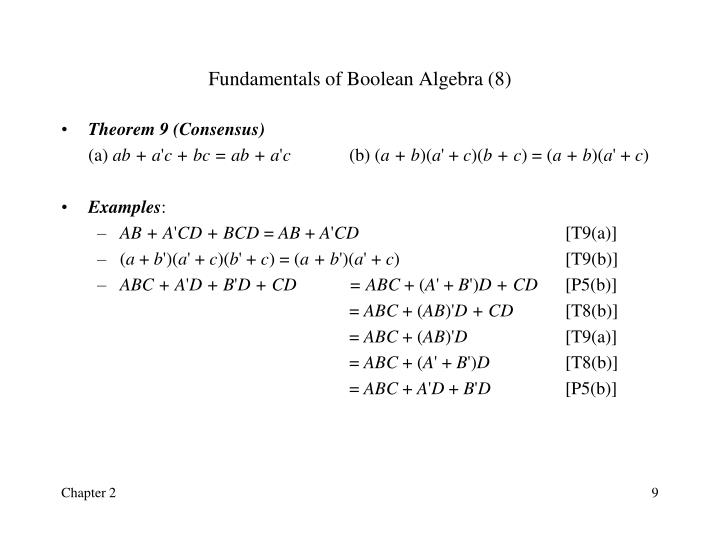 Fundamentals of Boolean Algebra (8)