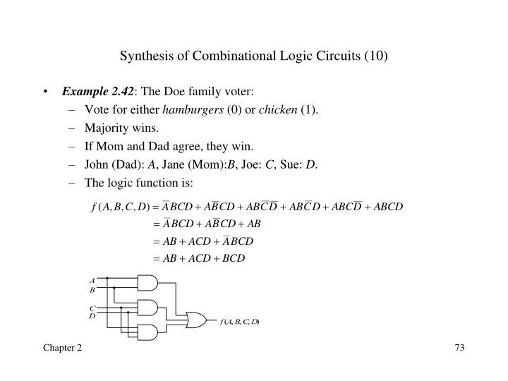 Synthesis of Combinational Logic Circuits (10)