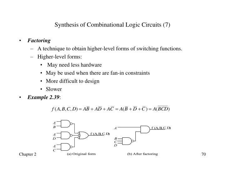 Synthesis of Combinational Logic Circuits (7)