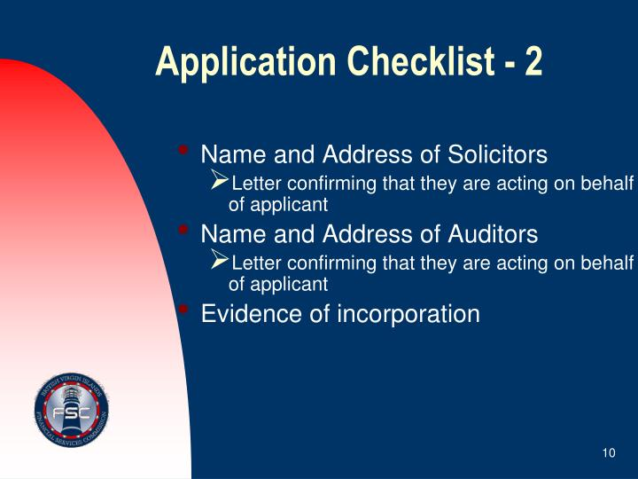 Application Checklist - 2