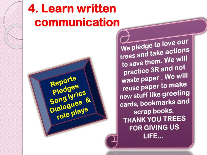 We pledge to love our trees and take actions to save them. We will practice 3R and not waste paper . We will reuse paper to make new stuff like greeting cards, bookmarks and scrap books.