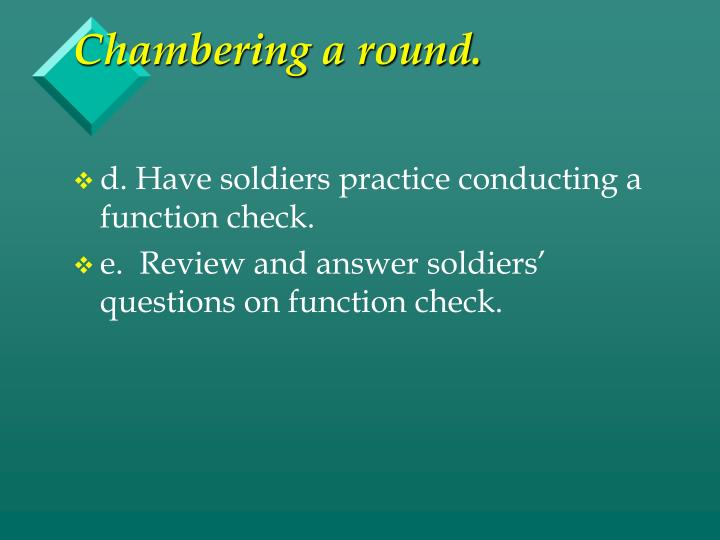 Chambering a round.