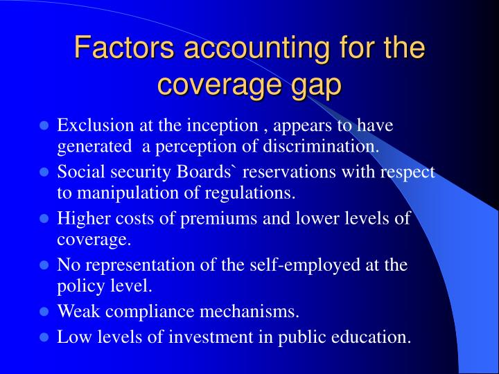 Factors accounting for the coverage gap