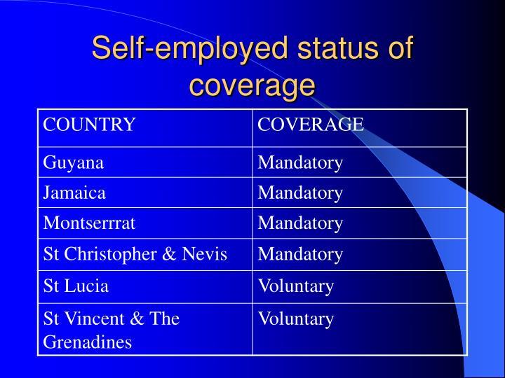 Self-employed status of coverage