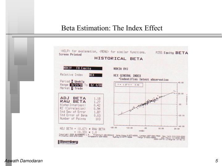 Beta Estimation: The Index Effect