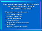 directors of speech and hearing program in state health and welfare agencies dshpshwa data form