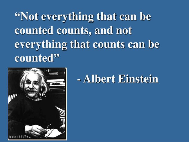 """""""Not everything that can be counted counts, and not everything that counts can be counted"""""""